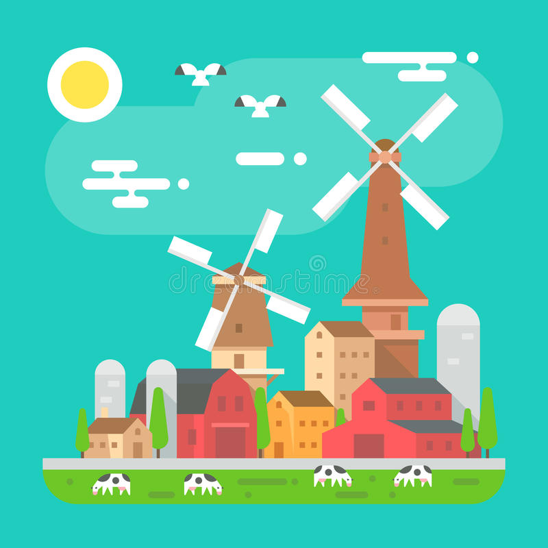 Kolorowa gospodarstwo rolne krajobrazu scena w płaskim projekcie ilustracja wektor