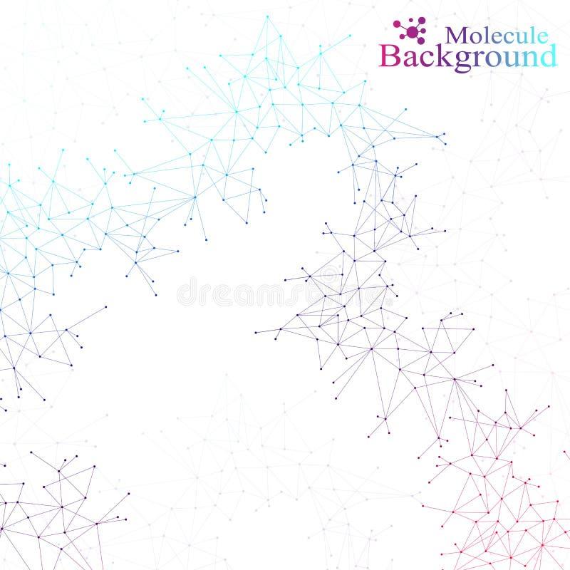 Kolorowa graficzna tło molekuła, komunikacja i Związek kropki z liniami dla twój projekta również zwrócić corel ilustracji wektor ilustracji