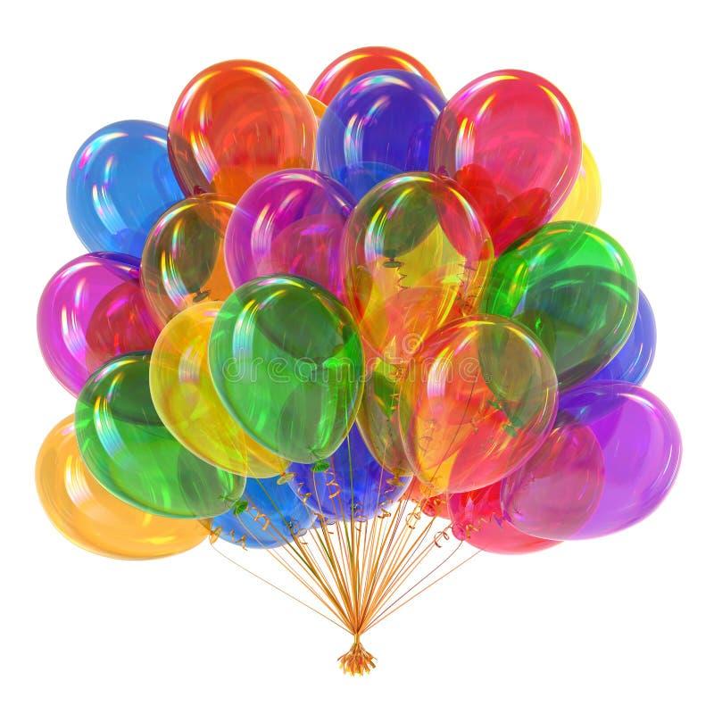 Kolorowa helowa balon wiązki przyjęcia dekoracja multicolor royalty ilustracja