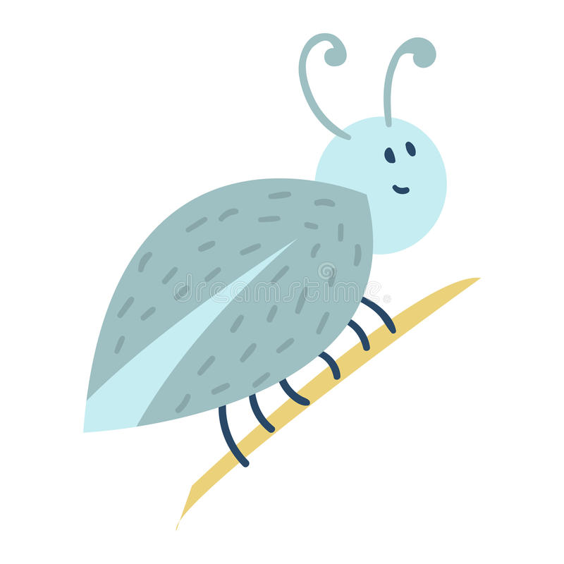 Kolorowa ikona odizolowywająca insekt przyrody skrzydła szczegółu lata pluskwy ręka rysująca dzika wektorowa ilustracja ilustracja wektor