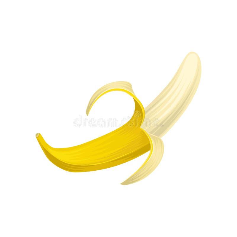 Kolorowa ikona połówka obrany banan Jaskrawa żółta owoc Słodki i zdrowy jedzenie Projekta element dla przepis kawiarni lub książk ilustracja wektor