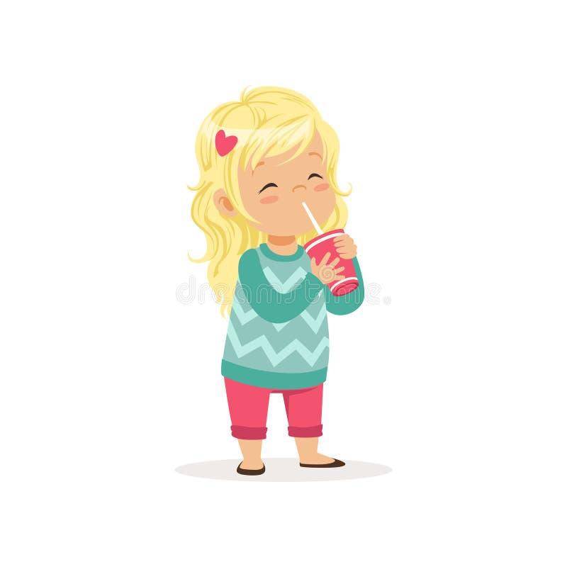 Kolorowa ilustracja śliczna blond dziewczyna z filiżanką cukierki ilustracja wektor