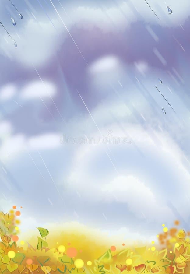 Kolorowa ilustracja dżdżysty niebo royalty ilustracja