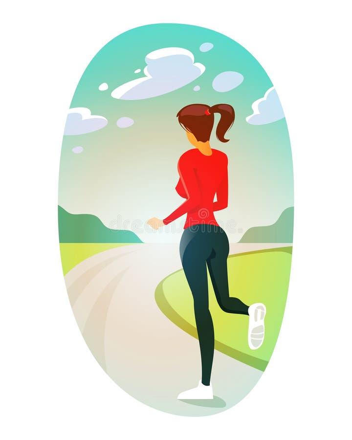 Kolorowa ilustracja działająca dziewczyna w parku obrazy royalty free
