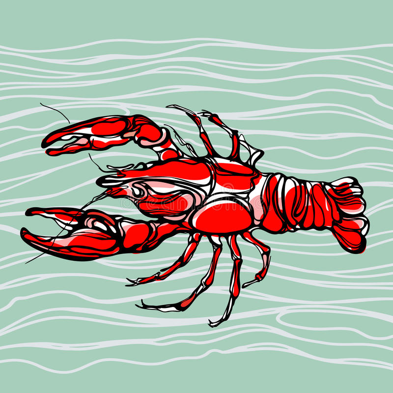 Kolorowa ilustracja homar 1 ilustracji