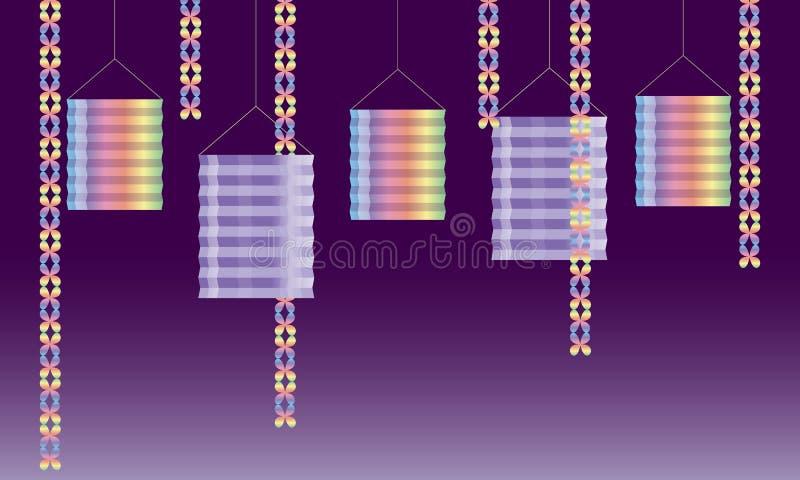 Kolorowa ilustracja papierowi lampiony, łańcuchy i confetti, dalej ilustracji