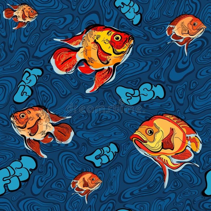 Kolorowa ilustracja rybi bezszwowy wzór royalty ilustracja