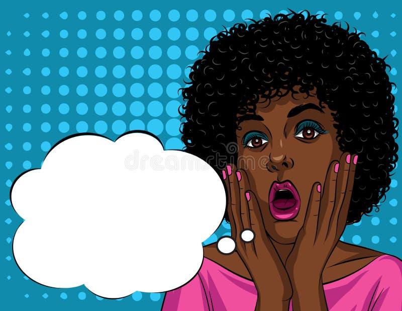 Kolorowa ilustracja w wystrzał sztuki stylu piękna amerykanin afrykańskiego pochodzenia kobiety ` s twarz w szok emocjach royalty ilustracja