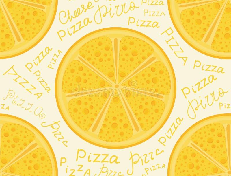 Kolorowa jedzenia i napoju wektorowa bezszwowa tekstura z serowymi pizzami royalty ilustracja