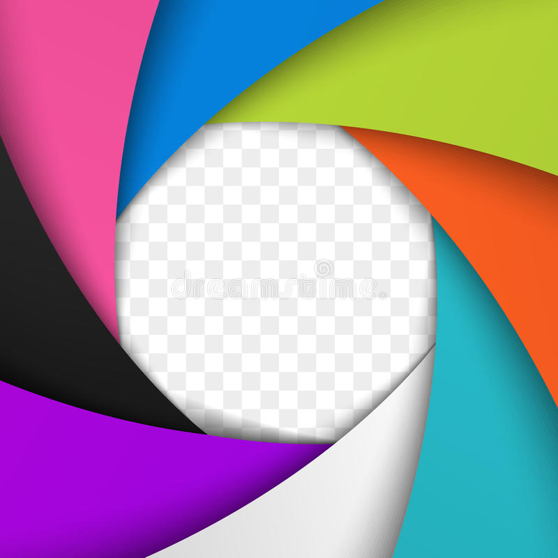 Kolorowa kamery żaluzi apertura Wektorowy tło ilustracja wektor