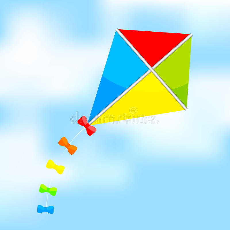 Kolorowa kania na niebie ilustracja wektor