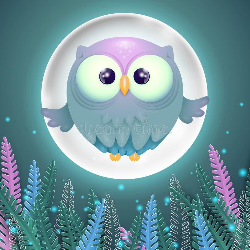 Kolorowa karta z śliczną małą latającą sową i księżyc w pełni royalty ilustracja