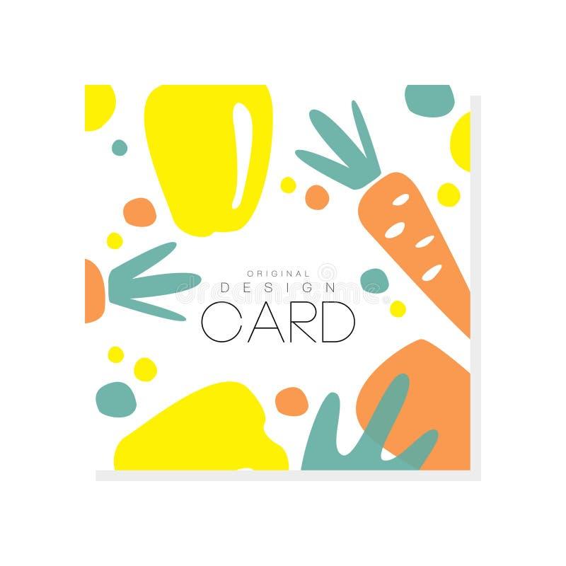 Kolorowa karta z marchewką i koloru żółtego pieprzem Świezi i organicznie warzywa zdrowe jeść Kreatywnie wektorowy projekt dla royalty ilustracja