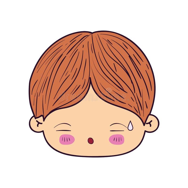 Kolorowa karykatury kawaii twarzy chłopiec z wyrazem twarzy zmęczony royalty ilustracja