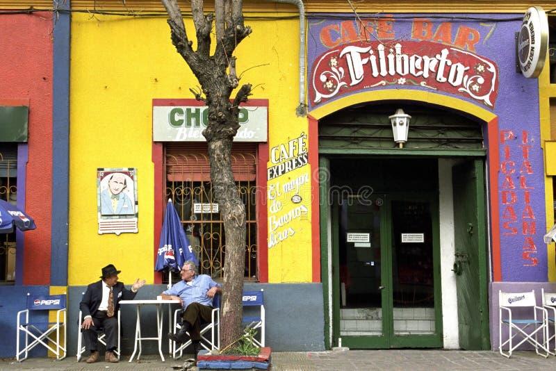 Kolorowa kawiarnia w miejscowość wypoczynkowa losie angeles Boca, Buenos Aires fotografia stock