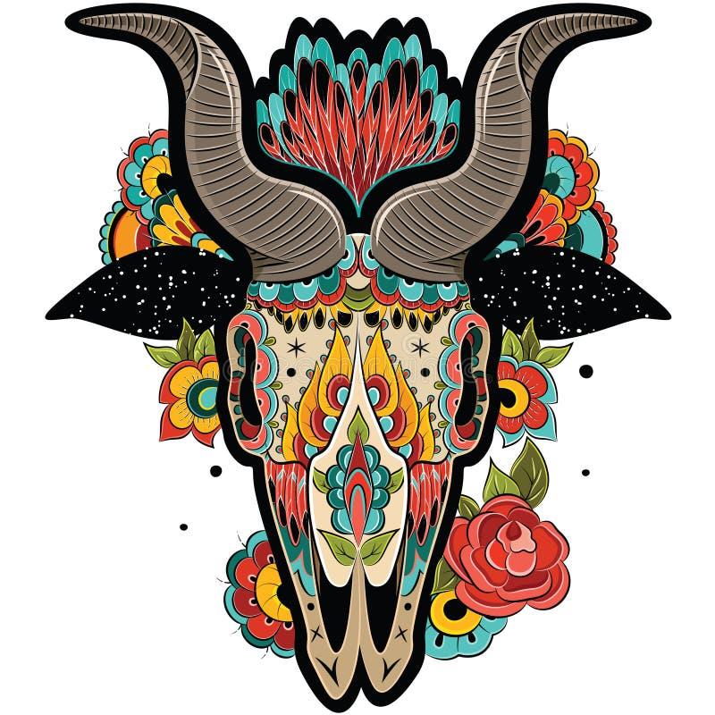 Kolorowa Koźlia czaszka ilustracja wektor