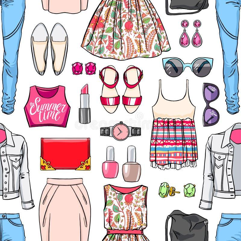Download Kolorowa Kobiety Lata Odzież Ilustracja Wektor - Ilustracja złożonej z sprzęgło, kurtka: 57652146