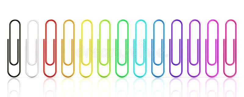 Kolorowa kolekcja papierowe klamerki odizolowywać na białym tle ilustracja wektor