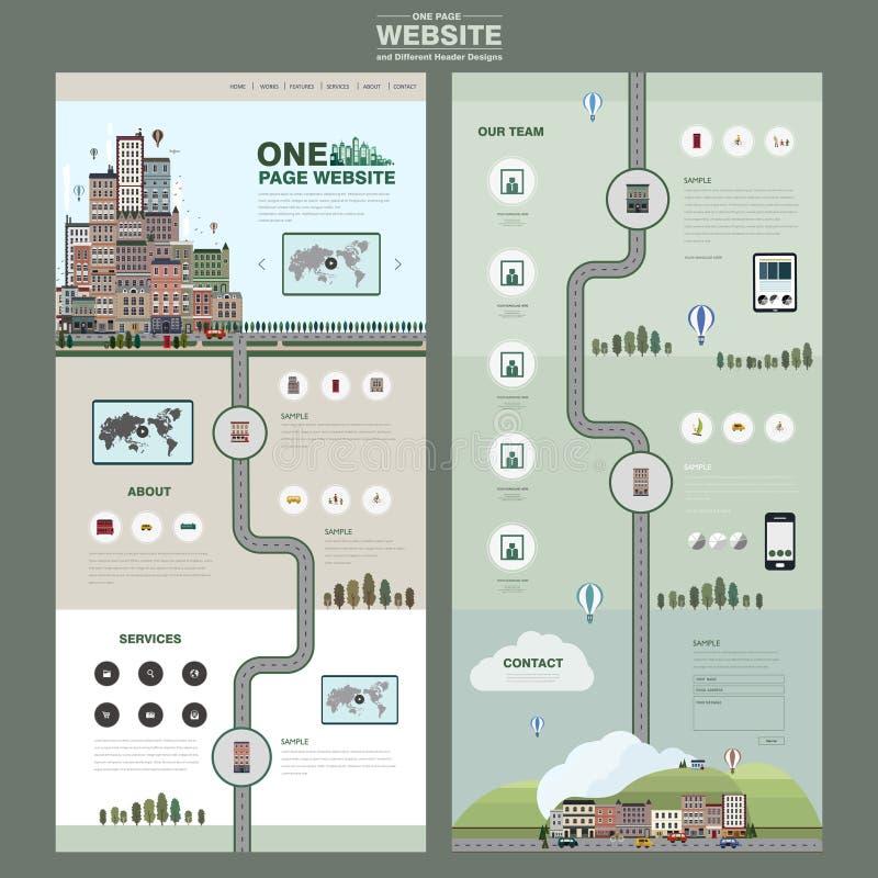 Kolorowa kraj sceneria jeden strony strony internetowej projekta szablon