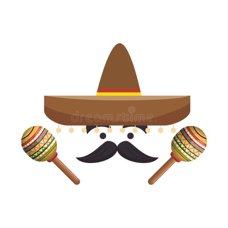 Kolorowa kreskówki twarz z maraca i meksykańskim kapeluszem royalty ilustracja