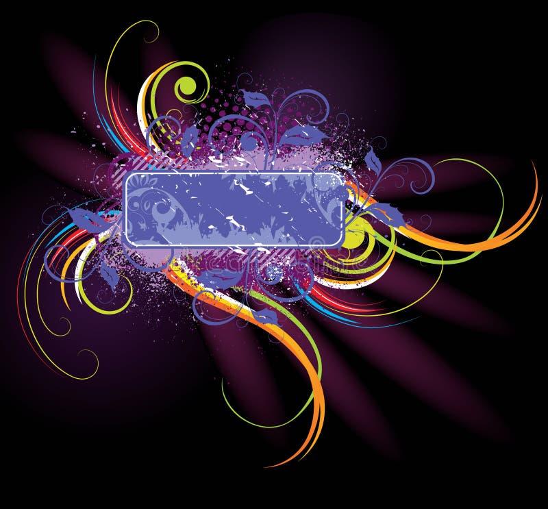 kolorowa kwiecista etykietka ilustracji