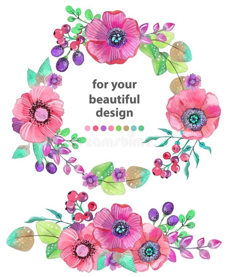 Kolorowa kwiecista karta z liśćmi i kwiatami, akwareli illustr royalty ilustracja