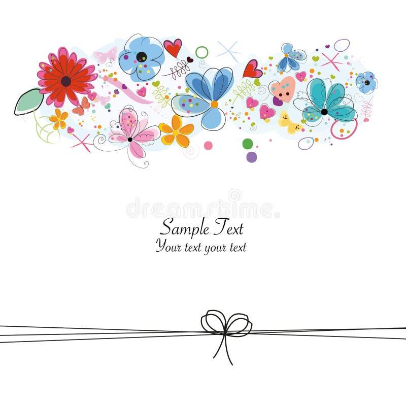 Kolorowa kwiecista kartka z pozdrowieniami z abstrakcjonistycznymi dekoracyjnymi kwiatami, sercami i motylami, ilustracji