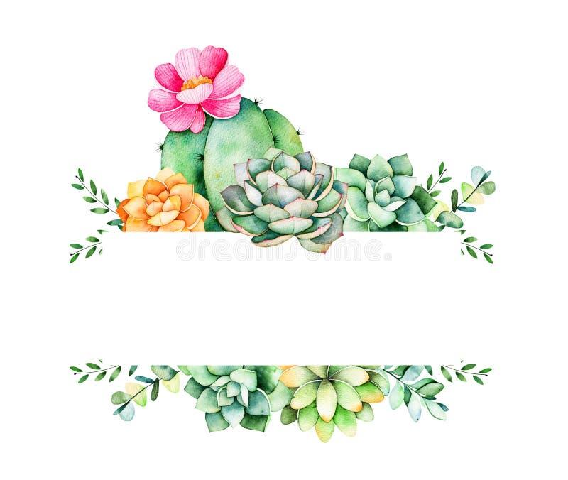 Kolorowa kwiecista rama z liśćmi, tłustoszowatą rośliną, gałąź i kaktusem, ilustracji