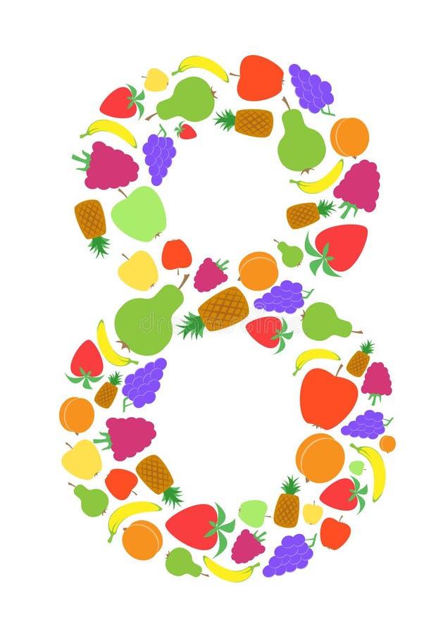 Kolorowa liczba 8 kształtująca płaskimi owocowymi projektami, Arial royalty ilustracja