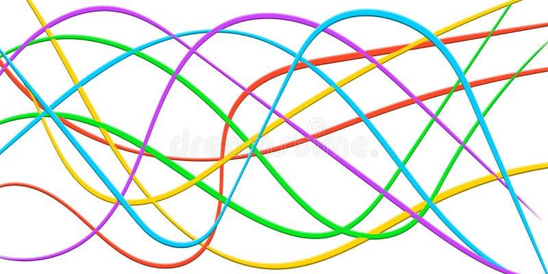 Kolorowa linia Obdziera faborek 3D, abstrakcjonistyczna wygina się tęczy fala, wektorowy Kolorowy jaskrawy tło kabel, błyskawiczn ilustracji