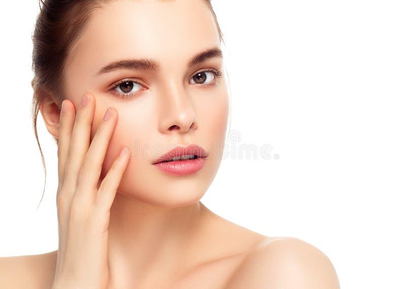 Kolorowa makijaż kobiety twarz, piękni brunetki lata makeup wi zdjęcia stock