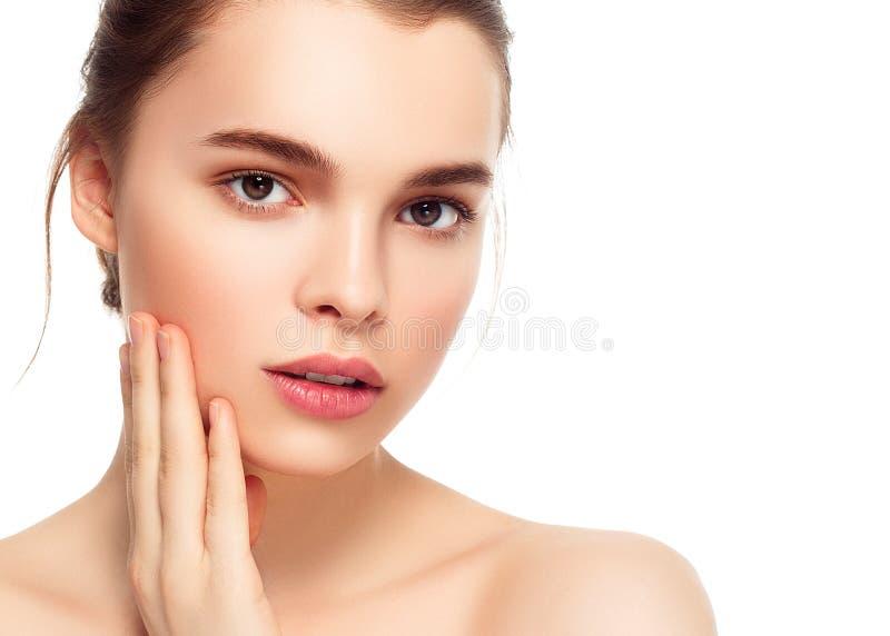 Kolorowa makijaż kobiety twarz, piękni brunetki lata makeup wi obraz royalty free