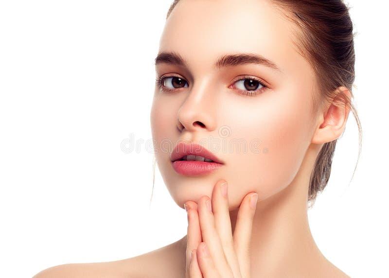 Kolorowa makijaż kobiety twarz, piękni brunetki lata makeup wi zdjęcia royalty free