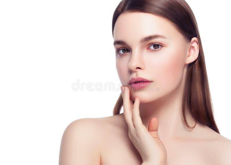 Kolorowa makijaż kobiety twarz, piękni brunetki lata makeup wi zdjęcie royalty free