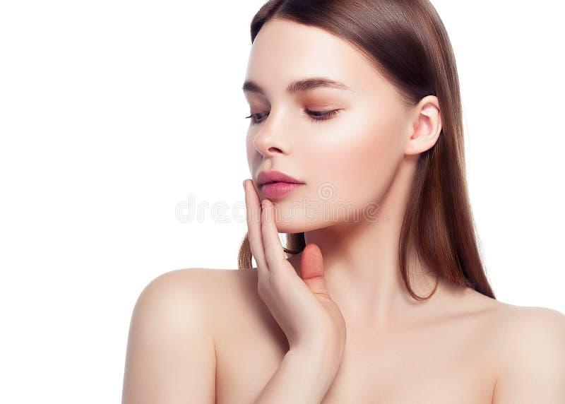 Kolorowa makijaż kobiety twarz, piękni brunetki lata makeup wi fotografia royalty free