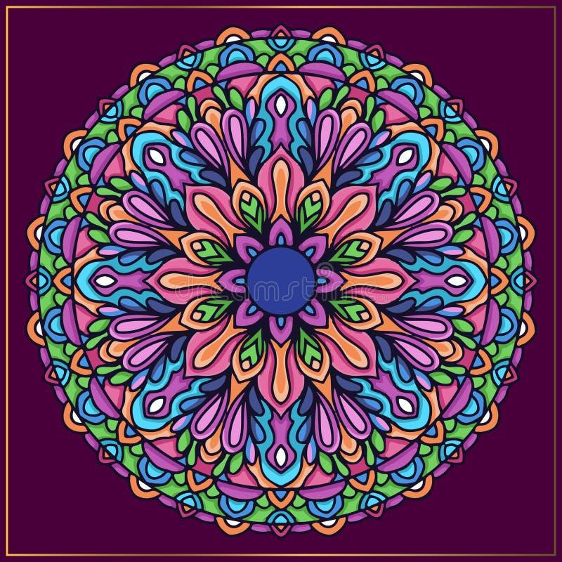 Kolorowa mandala sztuka Kółkowa mandala rama z abstrakcjonistycznymi kwiecistymi motywami ilustracji