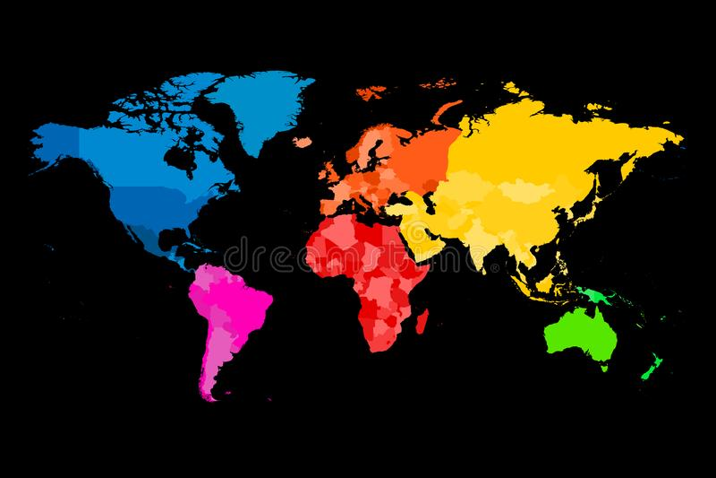 Kolorowa mapa świat Wektorowa polityczna mapa z różnymi kolorami each kontynent ilustracji