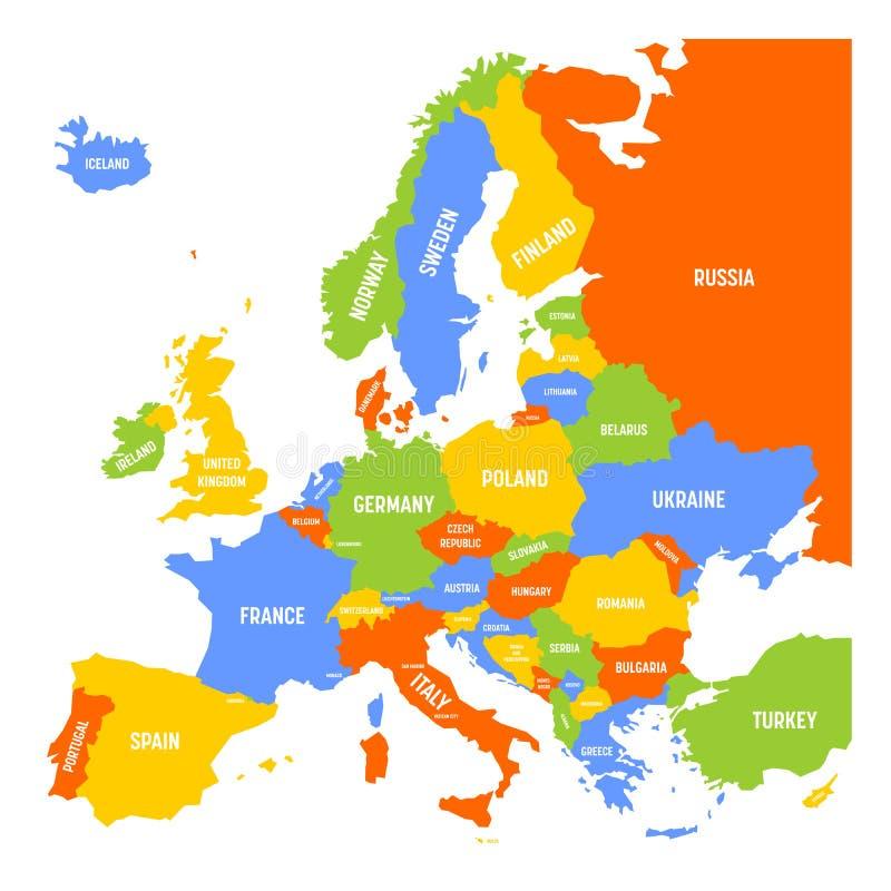 Kolorowa mapa Europa royalty ilustracja