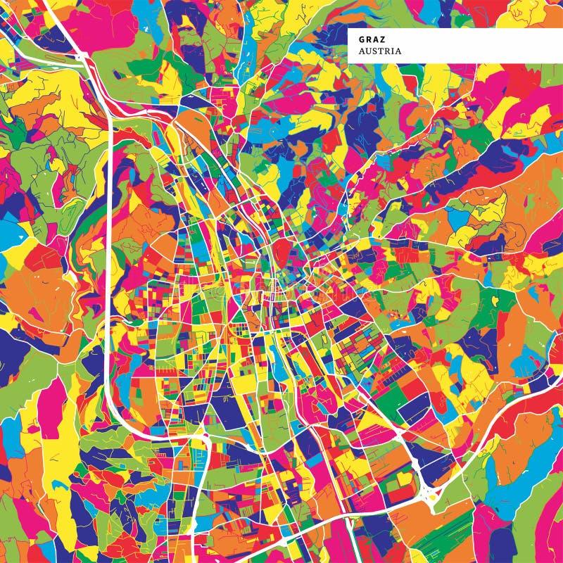 Kolorowa mapa Graz, Austria royalty ilustracja