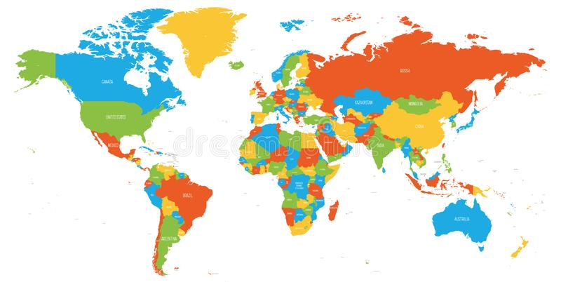 Kolorowa mapa ?wiat Wysokiego szczeg??u polityczna mapa z kraj?w imionami r?wnie? zwr?ci? corel ilustracji wektora ilustracja wektor