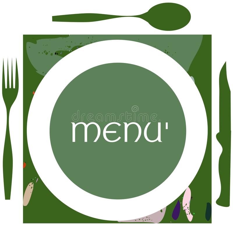 Kolorowa menu etykietka royalty ilustracja