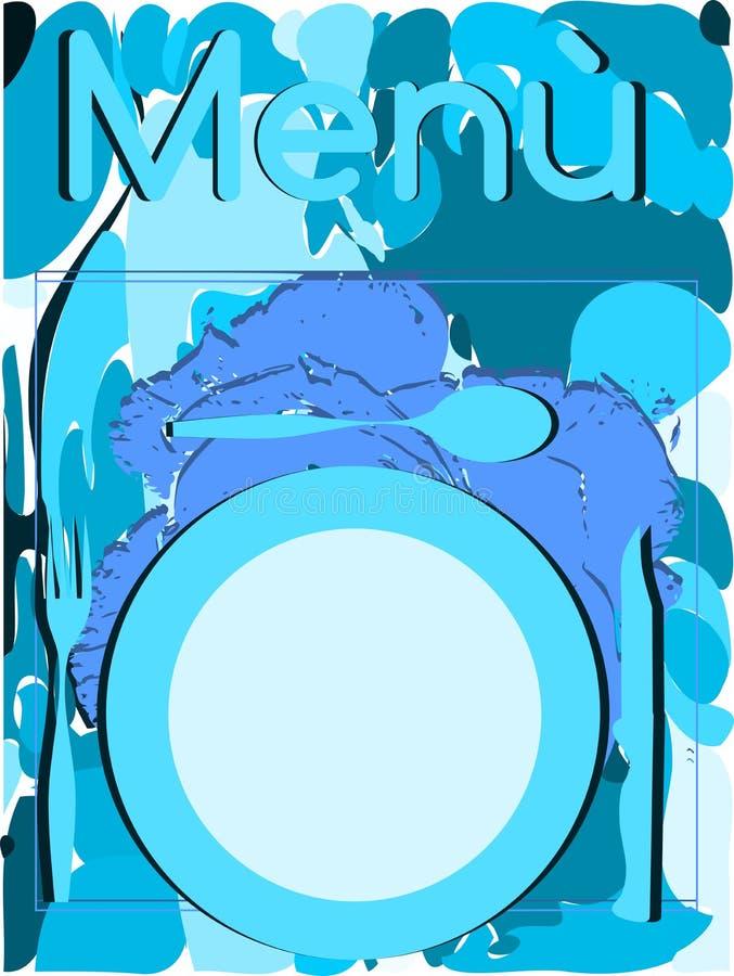 Kolorowa menu pokrywa w błękitnych brzmieniach ilustracja wektor