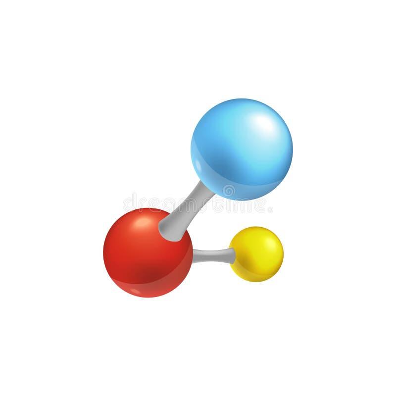 Kolorowa molekuły ikona dla chemii i biologii ilustracji