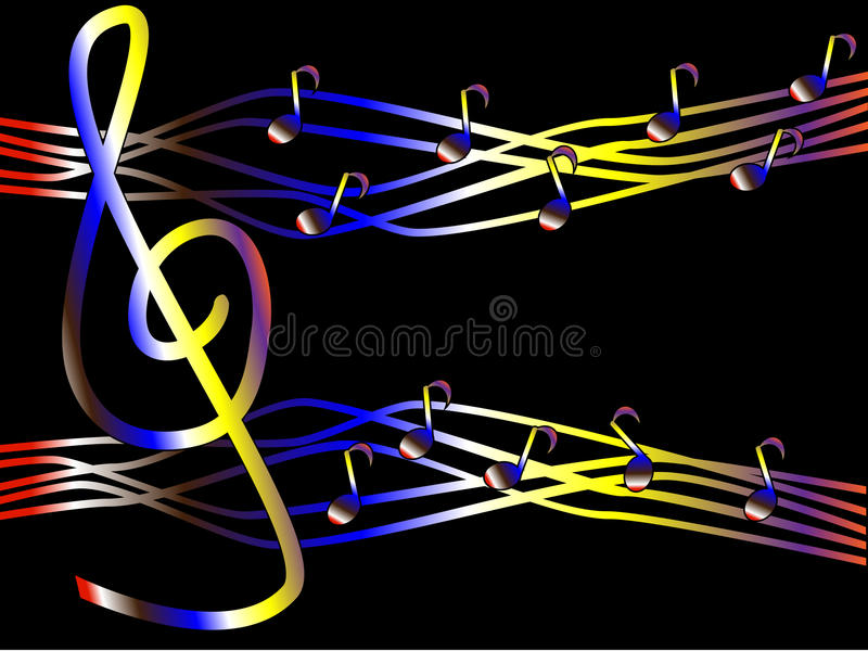 Kolorowa muzyka w postaci treble notatek i clef obraz royalty free