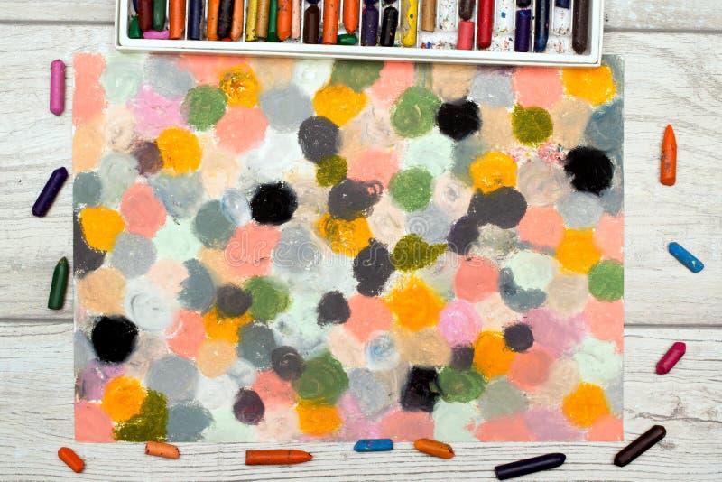 Kolorowa nafciana pastelu rysunku tekstura dla tła ilustracja wektor
