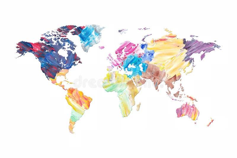 Kolorowa Nafcianej farby tekstura słowo mapa royalty ilustracja