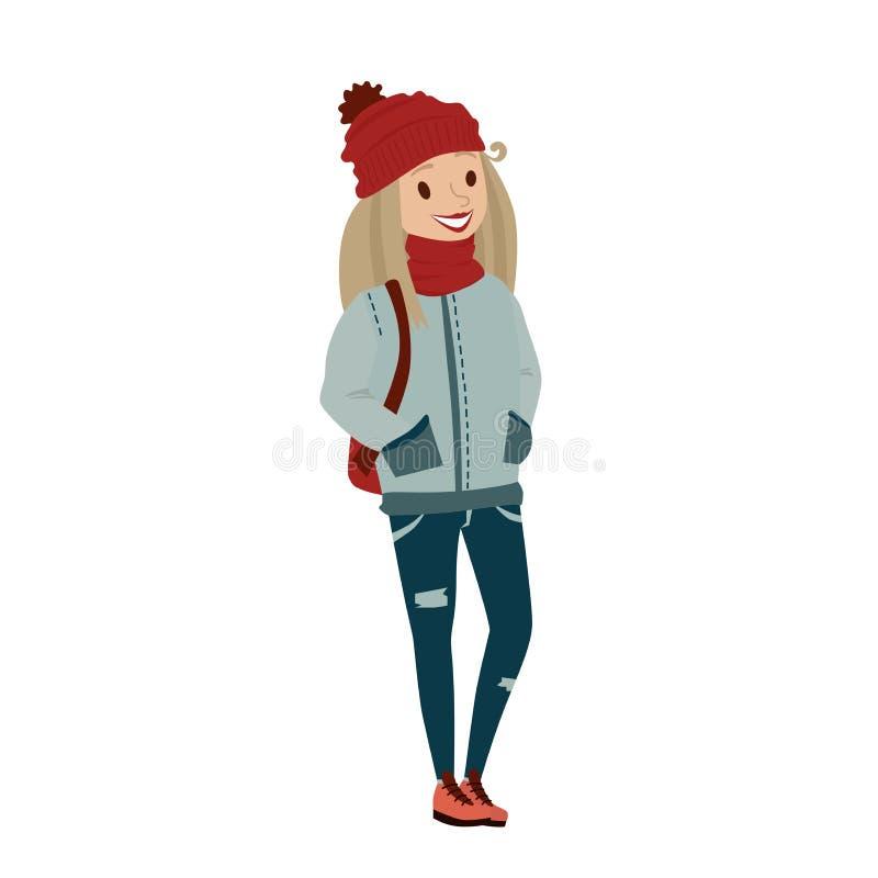 Kolorowa nastolatek szkoły dziewczyna jest ubranym ciepłą odzież ilustracja wektor