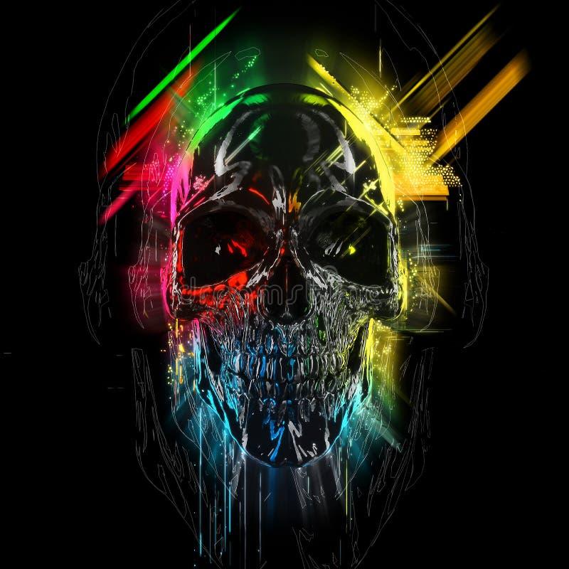 Kolorowa neonowa czaszka - łuny i smugi ilustracji