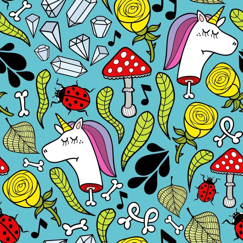Kolorowa niekończący się ilustracja z nieżywymi jednorożec i roślinami ilustracja wektor