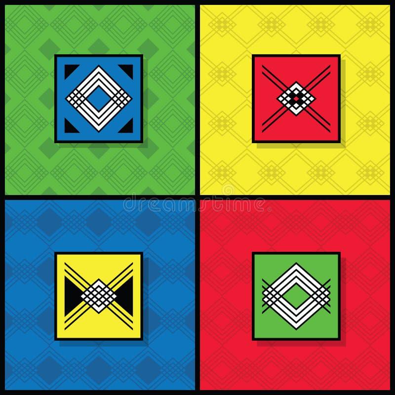Kolorowa nowożytna wystrzał sztuka deseniuje tło ustawiającego z etykietkami ilustracja wektor